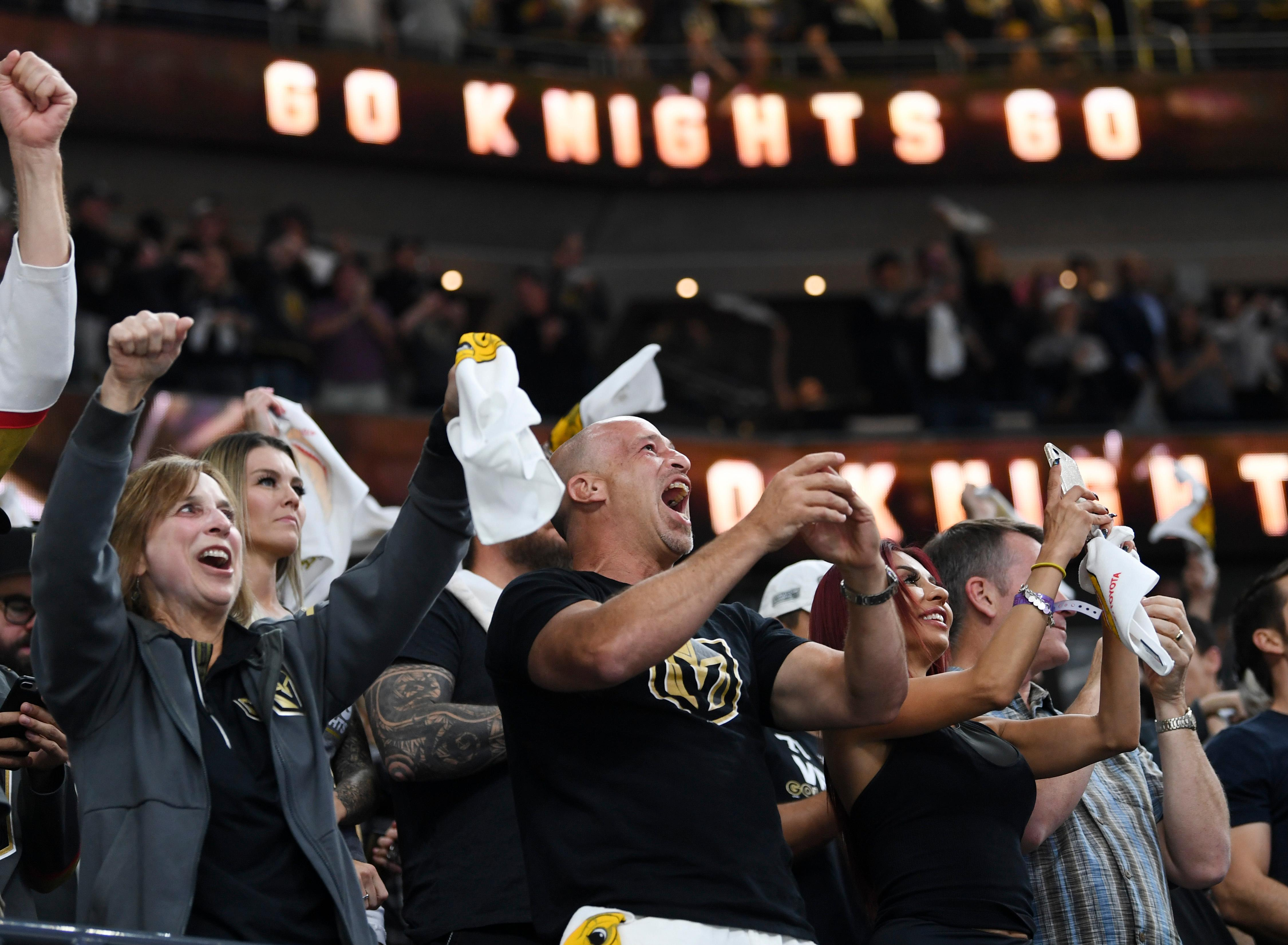 Vegas Golden Knights fans cheer after scoring in the first minute against the Winnipeg Jets during Game 3 of their NHL hockey Western Conference Final game Wednesday, May 16, 2018, at T-Mobile Arena. CREDIT: Sam Morris/Las Vegas News Bureau