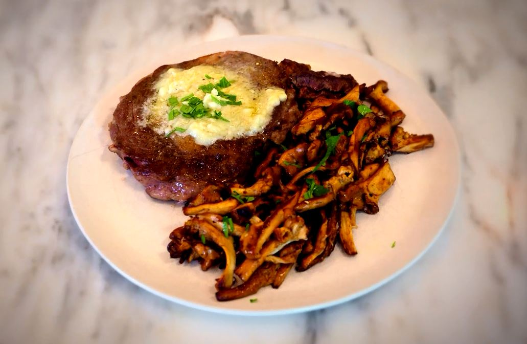 Delicious Seared Rib-Eye Steaks with Gorgonzola, Port Butter and Sauteed Chanterelle Mushrooms (Refined)