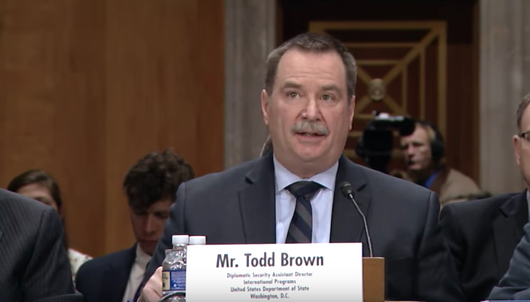 Witness and Diplomatic Security Assistant Director for International Programs at the State Department Todd Brown / Photo: State Department YouTube<p></p>