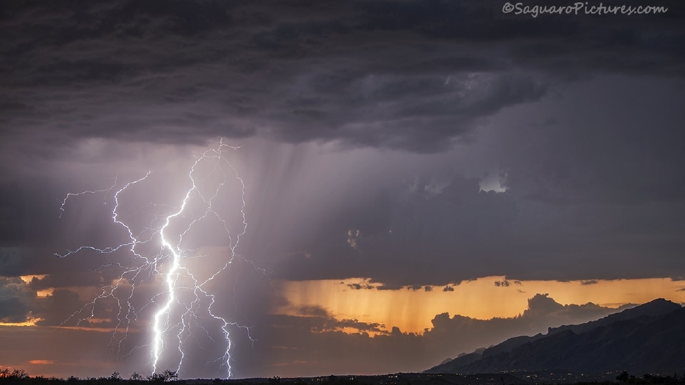 3 separate storm chasers get shot of same Tucson lightning bolt