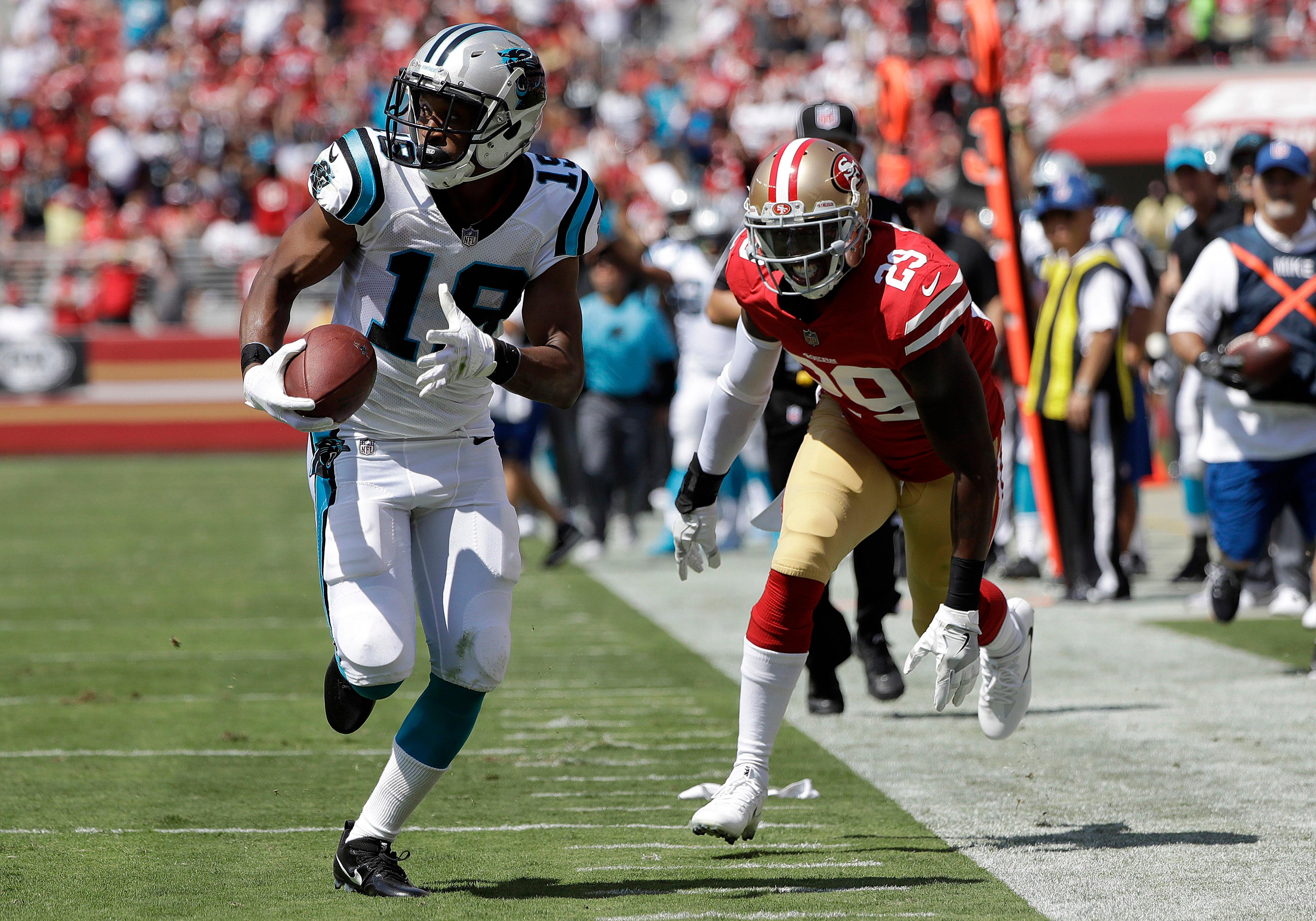 Carolina Panthers wide receiver Russell Shepard (19) runs past San Francisco 49ers strong safety Jaquiski Tartt (29) to score a touchdown during the first half of an NFL football game in Santa Clara, Calif., Sunday, Sept. 10, 2017. (AP Photo/Marcio Jose Sanchez)