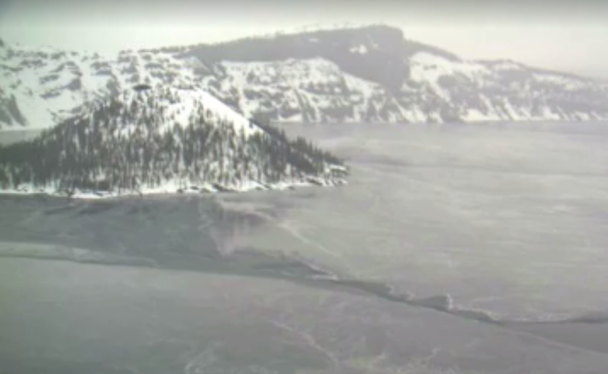 Still image of Crater Lake snow and ice, January 23, 2013. (Courtesy Crater Lake Cratercam at go.nps.gov/cratercam)