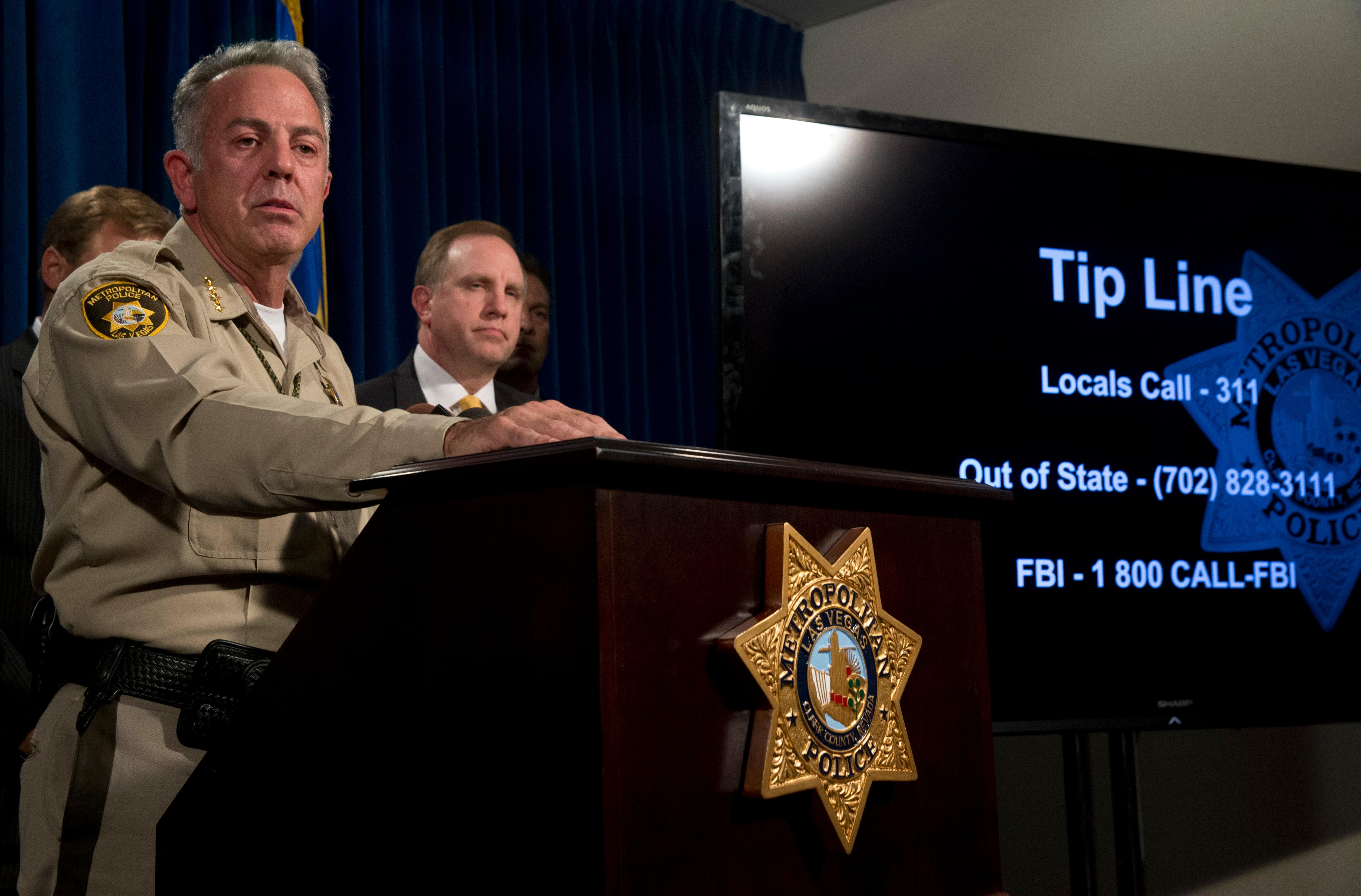 Clark County Sheriff Joe Lombardo holds a media briefing at Metro Police headquarters in Las Vegas Wednesday, Oct. 4, 2017. Investigators trying to figure out the Las Vegas gunman, Stephen Paddock's state of mind have so far been stymied by the secret life he appeared to lead before the attack on a country music concert on the Las Vegas Strip Sunday. (Steve Marcus/Las Vegas Sun via AP)