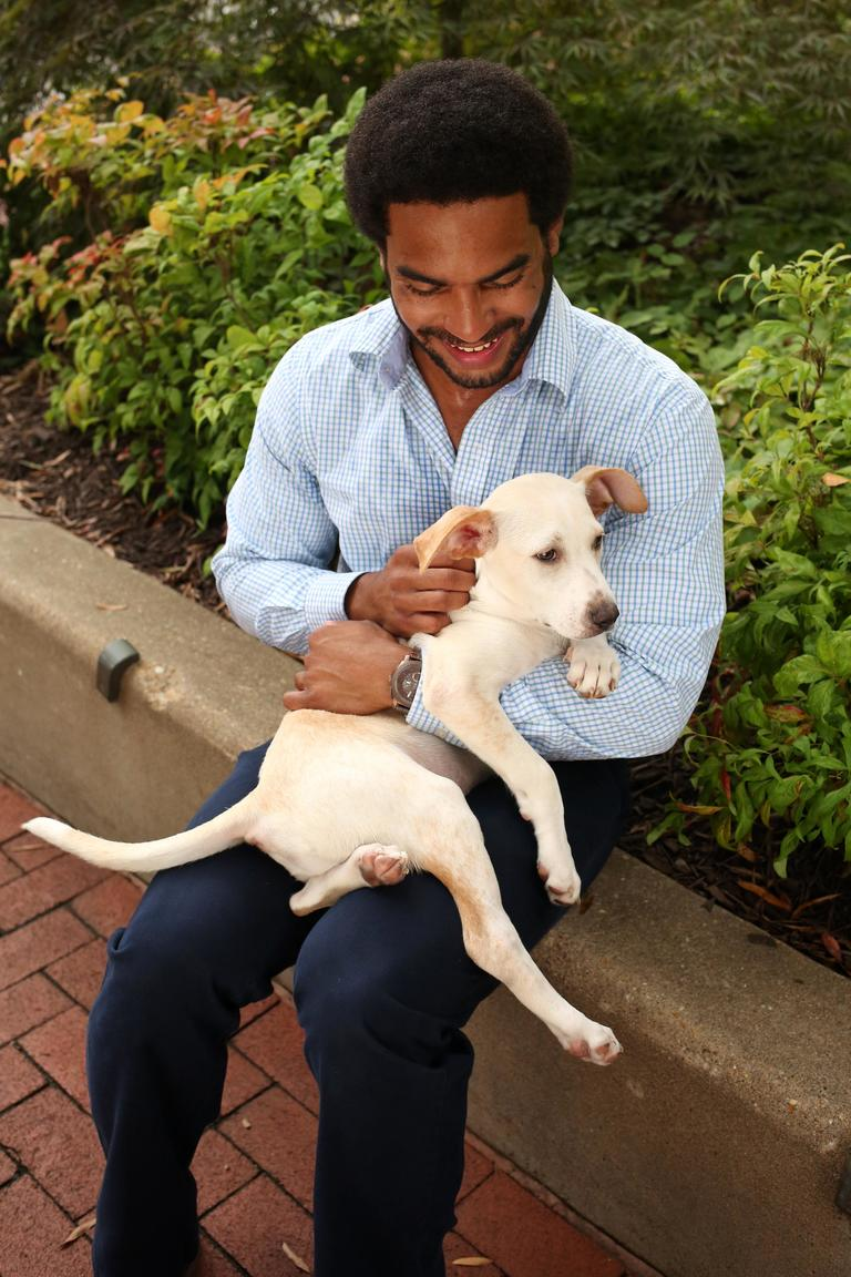 John is a 28-year-old network engineer who enjoys exercising and is looking for someone who is independent and spontaneous. // Josh is a 13-week-old yellow lab mix and is available for adoption from Lucky Dog Animal Rescue. (Amanda Andrade-Rhoades/DC Refined)