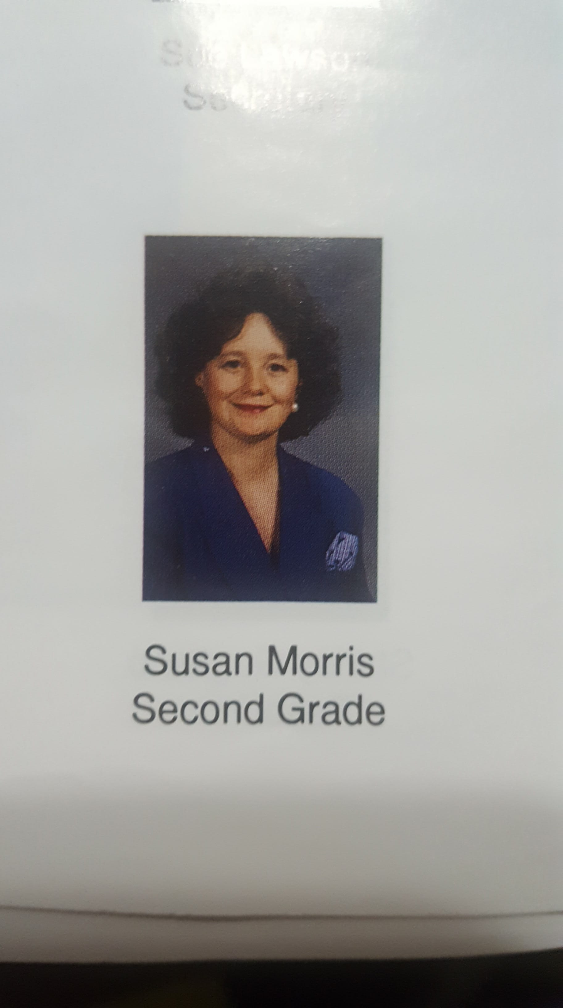 This picture of Susan Morris was used in the 1991 Graysville Elementary yearbook, during which time she taught 2nd Grade. (Image courtesy Bethany Garabedian)<p></p>