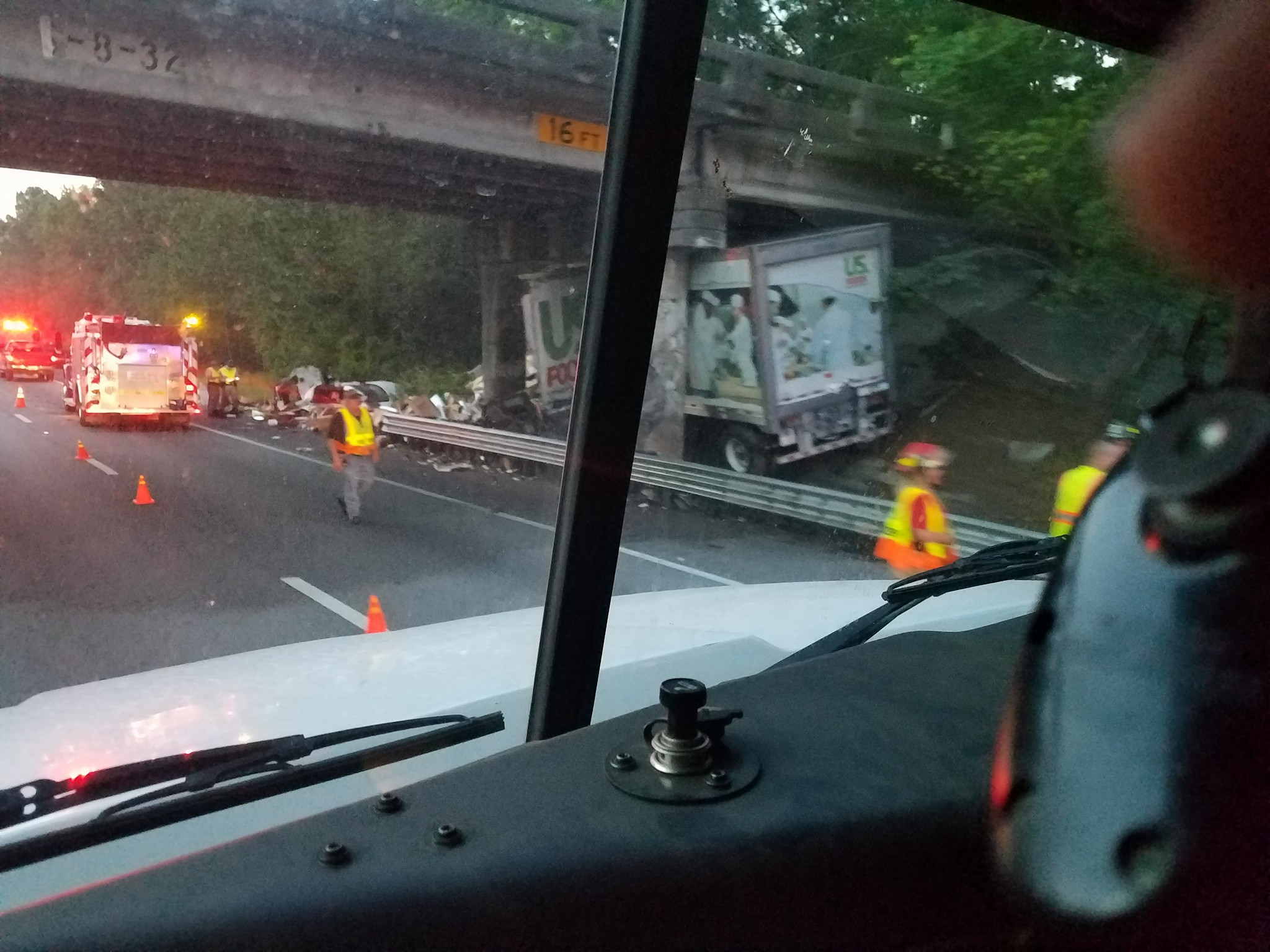 This photo from the scene was provided by an ABC News 4 viewer stuck in traffic in the area Friday morning.