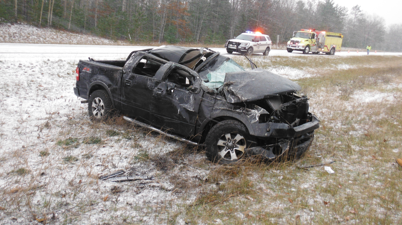 Cheboygan County deputies say Andrew Micovoch,24, rolled his car several times after speeding on icy roads in Burt Township early Sunday morning. Micovich and his passenger sustained non-life threatening injuries. Courtesy of: Cheboygan County Sheriff's Department<p></p>
