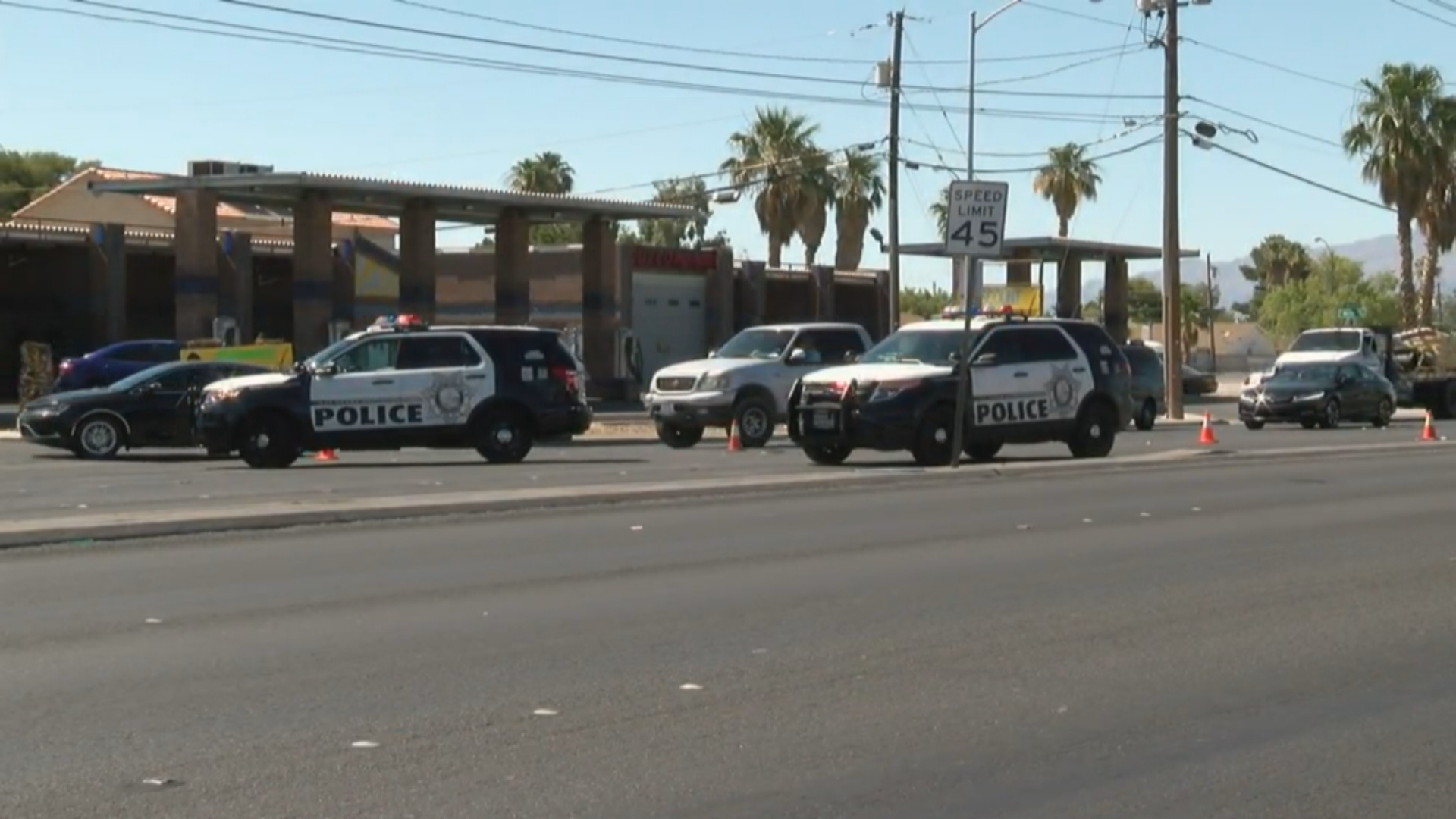 Police investigate a crash Wednesday, June 14, 2017, in the intersection of South Nellis Boulevard and East Sahara Avenue in Las Vegas. (Ken Takahashi/KSNV)