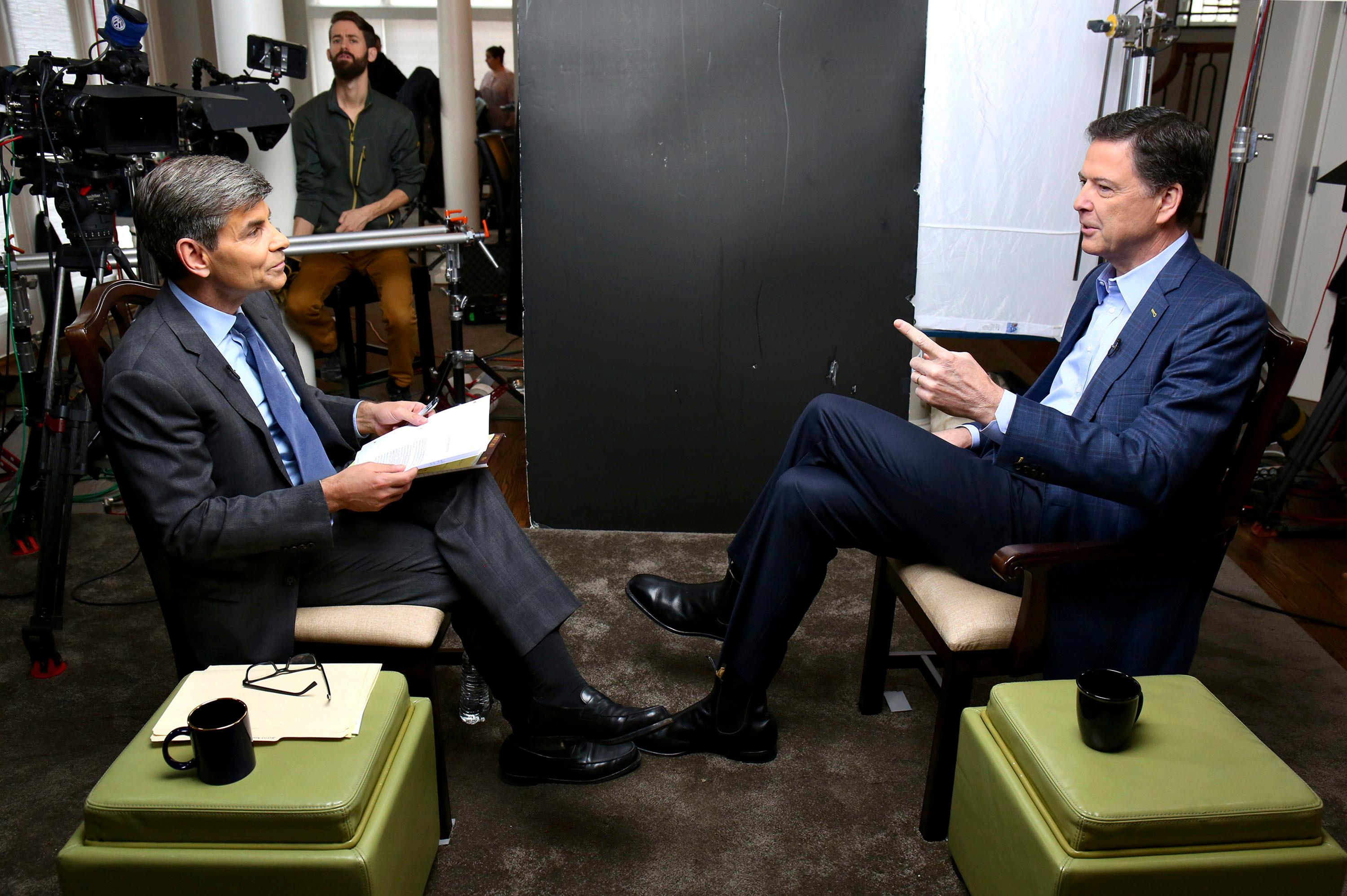 "In this image released by ABC News, correspondent George Stephanopoulos, left, appears with former FBI director James Comey for a taped interview that aired during a primetime ""20/20"" special on Sunday, April 15, 2018 on the ABC Television Network. (Ralph Alswang/ABC via AP)"