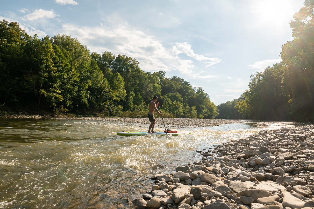The Little Miami River is perfect for individuals of all levels.  The river rarely has rapids much larger than shown in this image, making it safe to sit in a kayak or even stand-up paddle. / Image: Allen Meyer // Published: 9.7.18