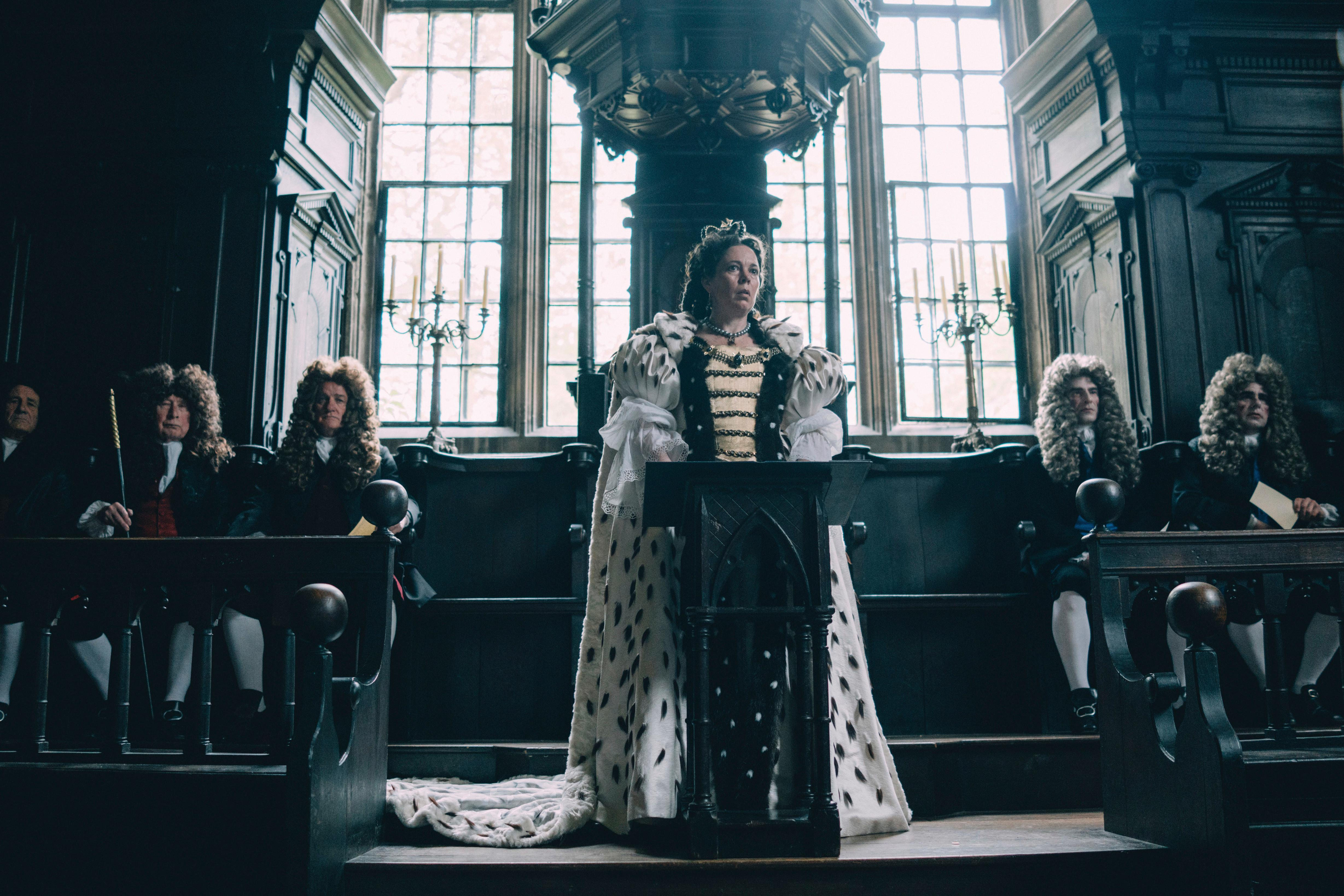 "This image released by Fox Searchlight Films shows Olivia Colman in a scene from the film ""The Favourite."" On Tuesday, Jan. 22, 2019, the film was nominated for an Oscar for best picture. The 91st Academy Awards will be held on Feb. 24, 2019. (Atsushi Nishijima/Fox Searchlight Films via AP)"