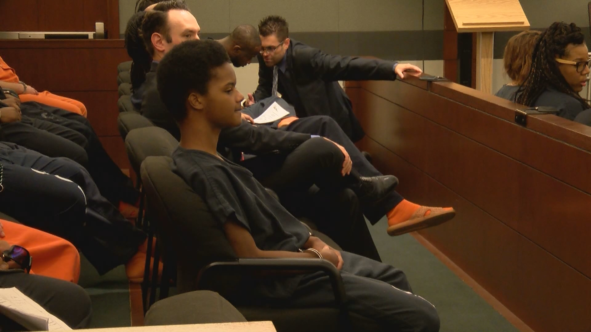 Royal Love-Camp, 17, appears in court Tuesday, July 18, 2017, at the Regional Justice Center in Las Vegas. (Bradford Boyer/KSNV)