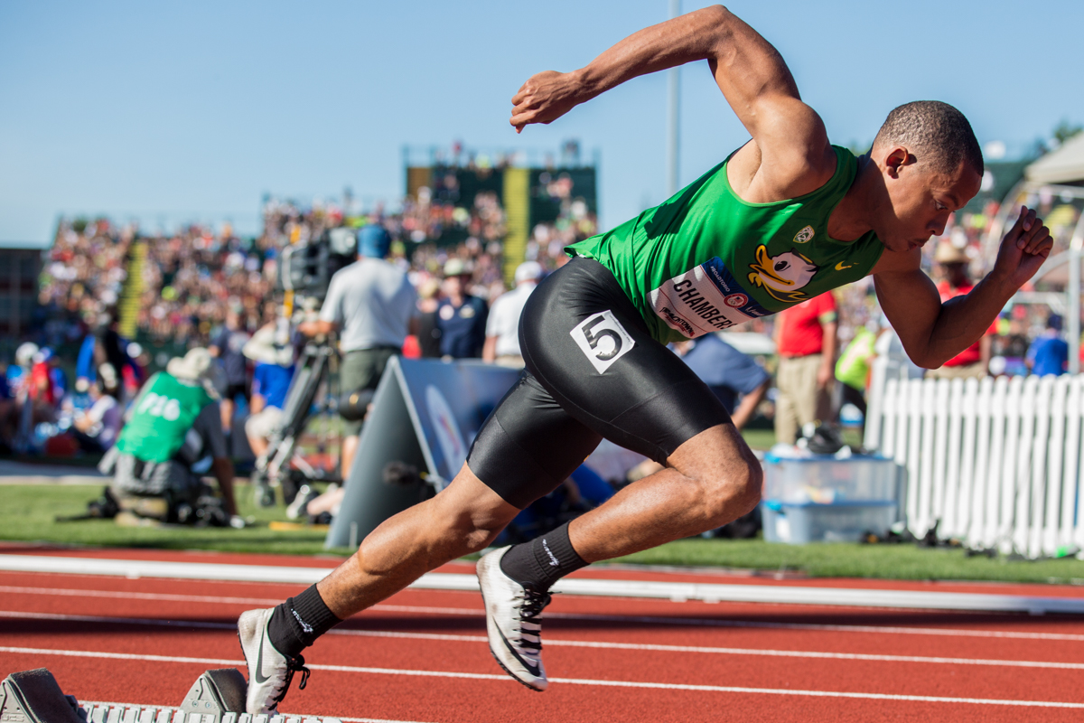 Oregon�s Marcus Chambers explodes off the blocks at the start of the men�s 400m. He placed 11th overall and will move on to the next round. Photo by Dillon Vibes