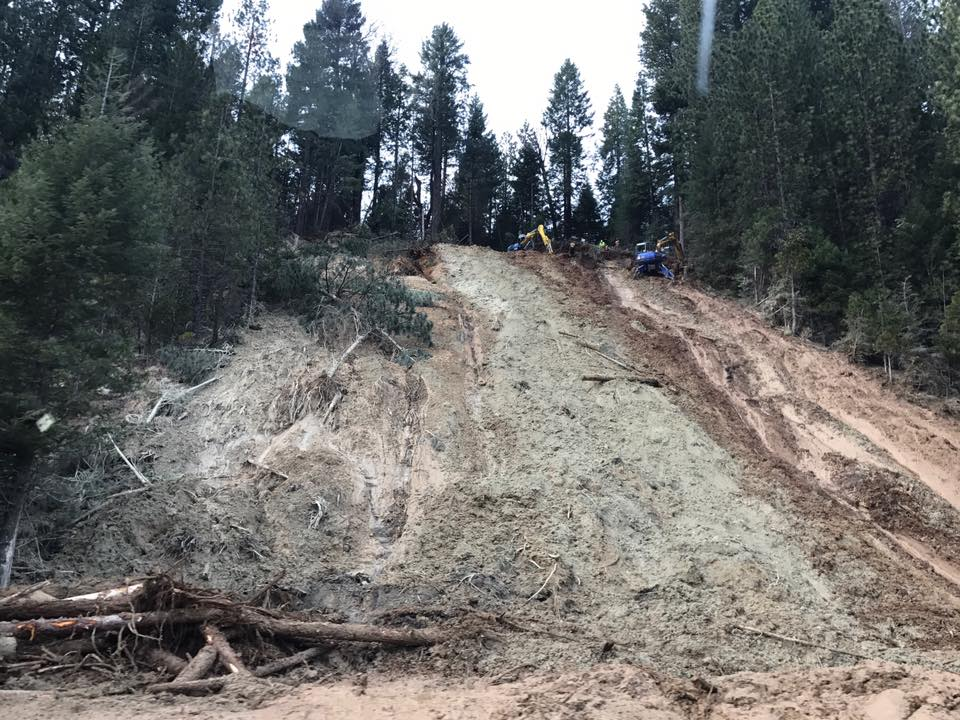 A mudslide closes westbound Interstate 80 at Baxter on Monday, Feb. 13, 2017 (Photo courtesy CHP-Truckee)