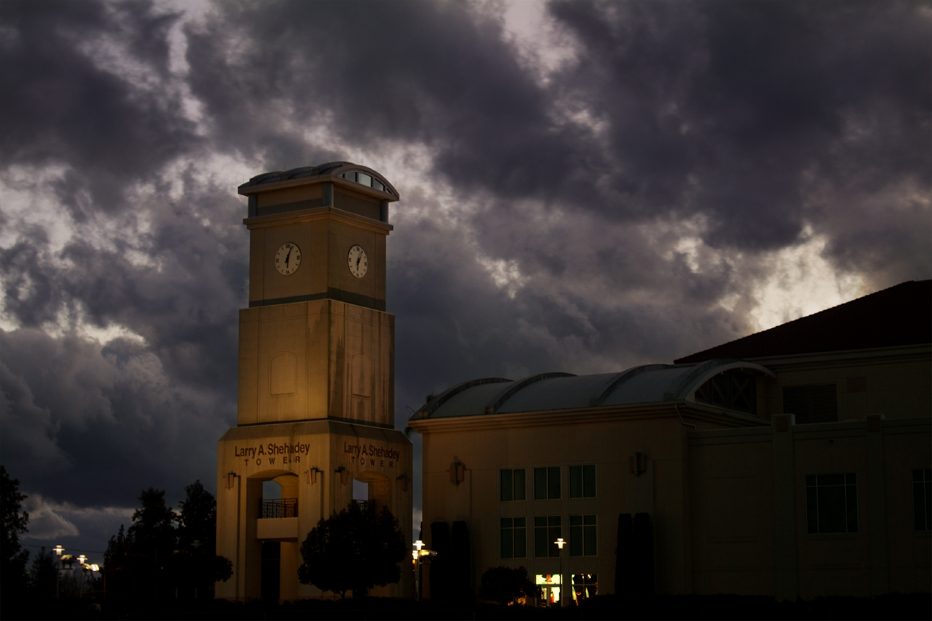 Storm clouds over the Save Mart Center at Fresno State by Zachary Phillips