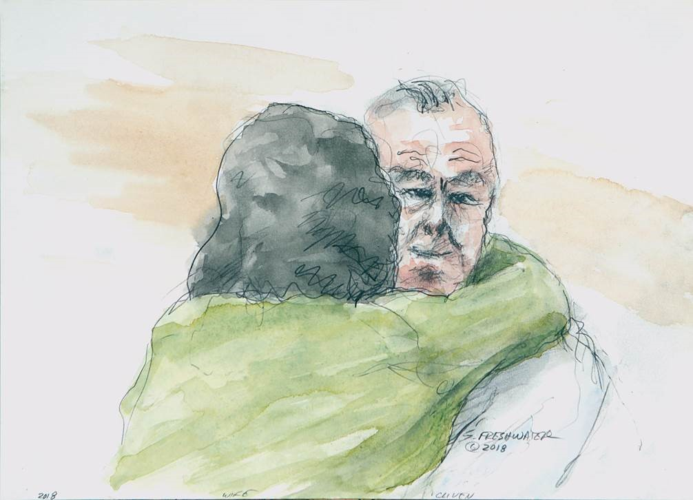 "A federal judge has ruled that prosecutors committed ""flagrant prosecutorial misconduct"" in their effort to prosecute Cliven Bundy. The judge has forbidden the government from refiling case. (Sketches by Stewart Freshwater)"