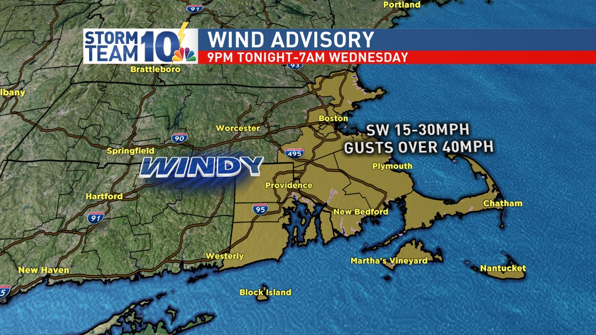 Strongest wind ending early Wednesday morning