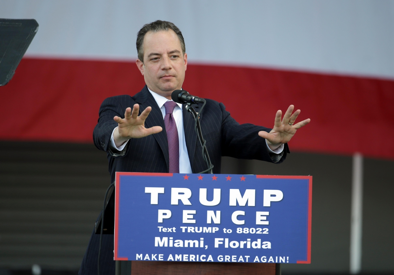 Reince Priebus, chairman of the Republican National Committee, speaks at a campaign rally for presidential candidate DonaldTrump at Bayfront Park Amphitheater, Wednesday, Nov. 2, 2016, in Miami. (AP Photo/Lynne Sladky)