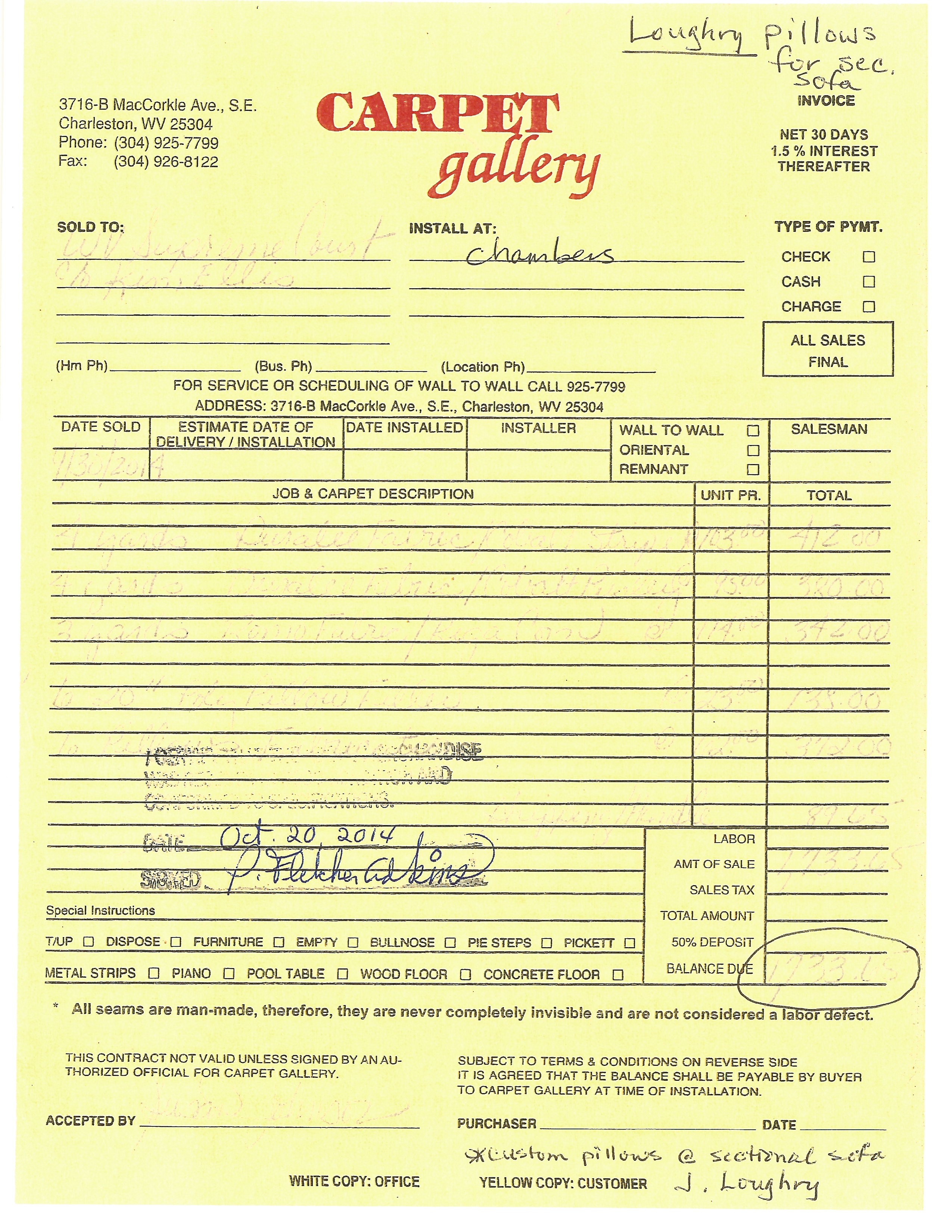 An invoice from Carpet Gallery for throw pillows for the sectional sofa in Chief Justice Allen Loughry's chambers totals more than $1,700. (WCHS/WVAH)<p></p>