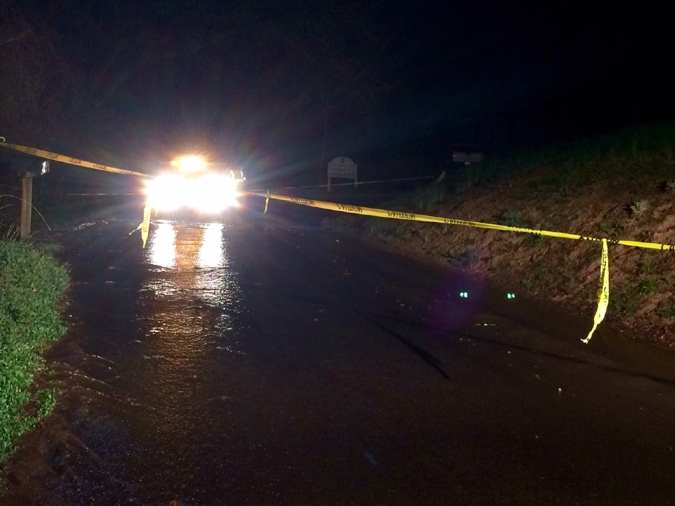 Water main break has Campground Road closed in east Asheville. - Photo courtesy: WLOS Staff