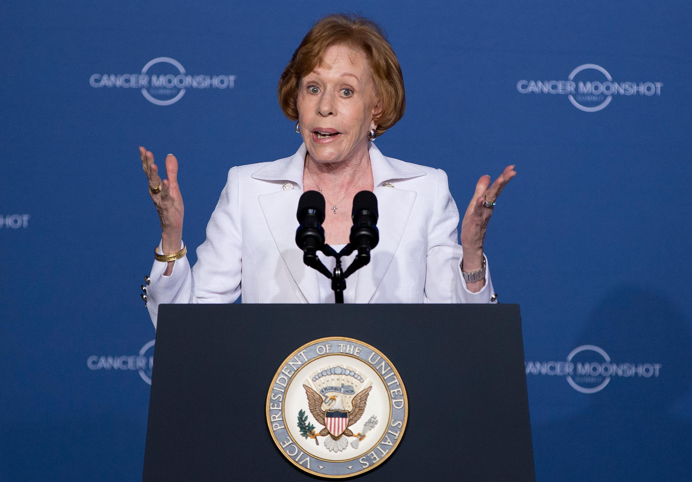 FILE - In this June 29, 2016, file photo, actress, comedian Carol Burnett speaks at the Cancer Moonshot Summit at Howard University in Washington before introducing Vice President Joe Biden. (AP Photo/Carolyn Kaster, File)