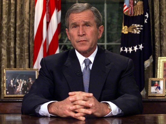 8:30 p.m.: President Bush addresses the nation from the White House. Members of Congress are told that the administration has enough evidence indicating Usama bin Laden and his Al Qaeda terrorist network are responsible for the attacks.