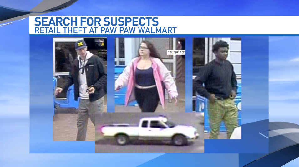 The Paw Paw (Michigan) Police Department is seeking assistance in identifying and locating three suspects in a Dec. 1 theft from a Walmart store. (Contributed)<p></p>
