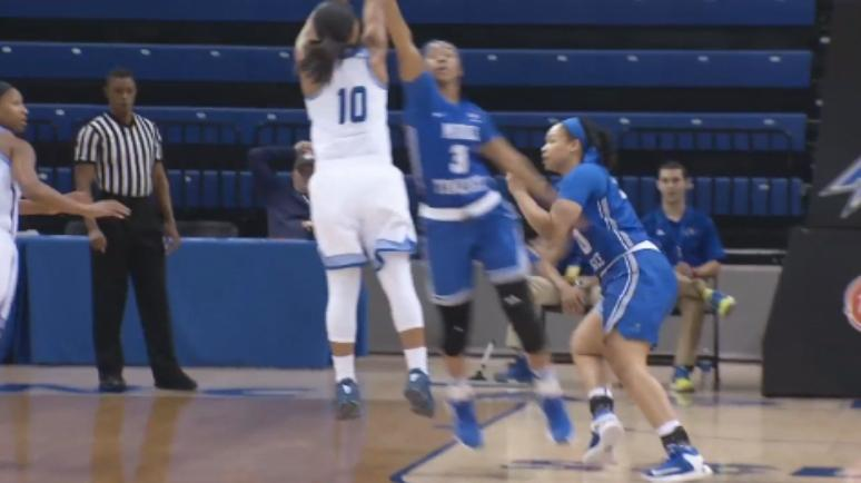 Jessica Wall drains a jumper against the Blue Raiders (WLOS Staff).jpg