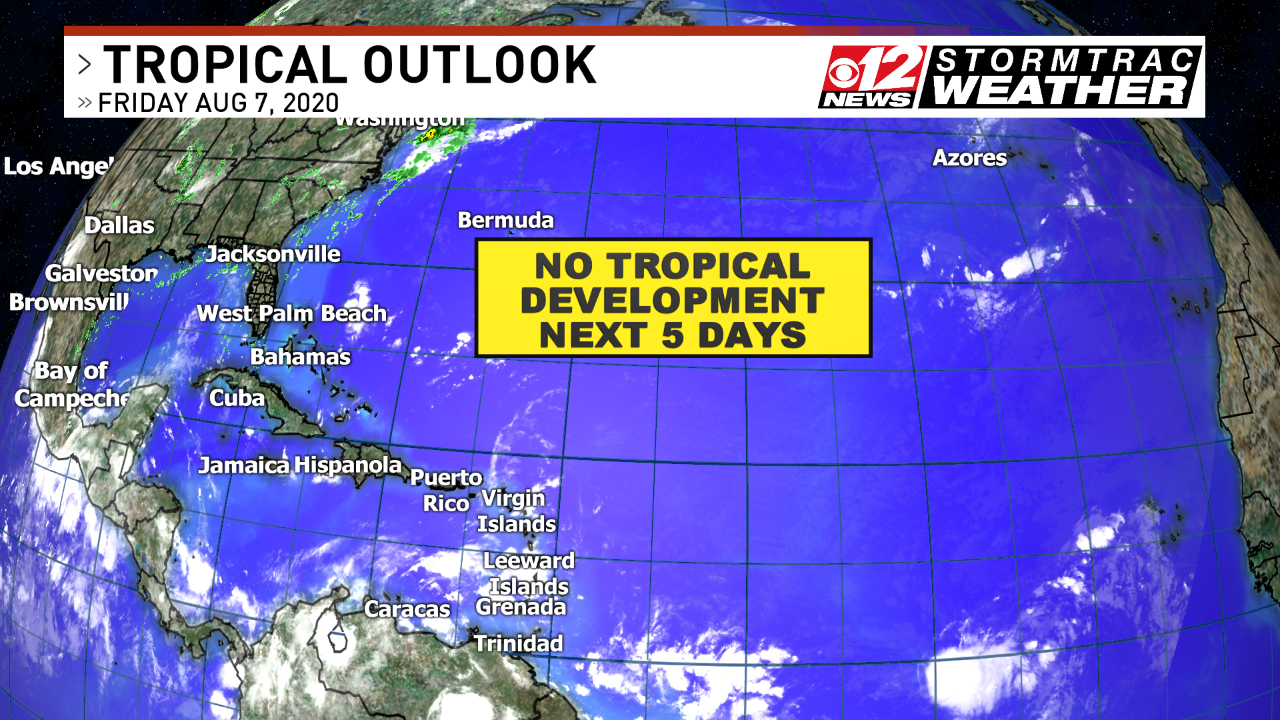 Tropical weather outlook shows no development next 5 days. (WPEC)<p></p>