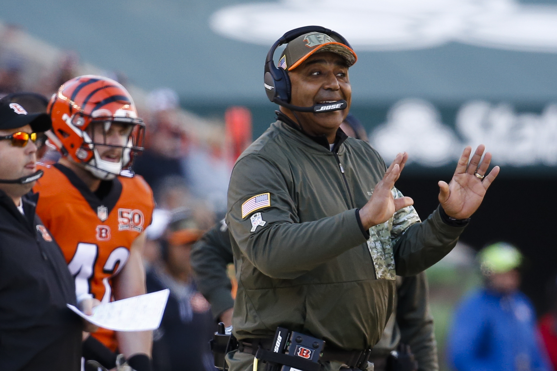 Cincinnati Bengals head coach Marvin Lewis works the sideline in the first half of an NFL football game against the Cleveland Browns, Sunday, Nov. 26, 2017, in Cincinnati. (AP Photo/Frank Victores)