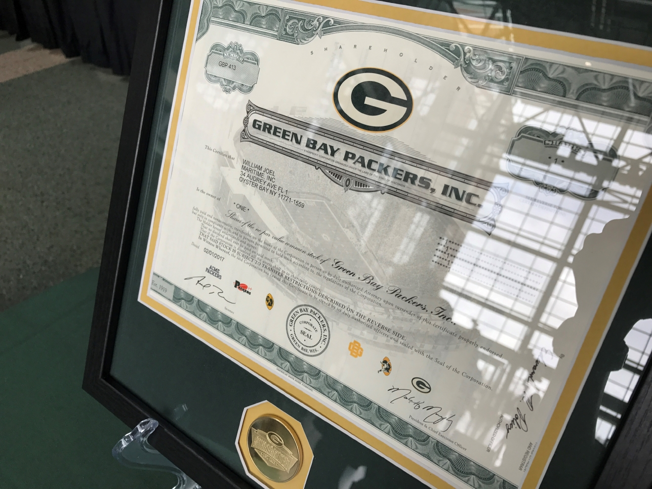 Billy Joel's shareholder certificate. The Packers will present this to him before his performance in Green Bay. (WLUK/Gabrielle Mays)