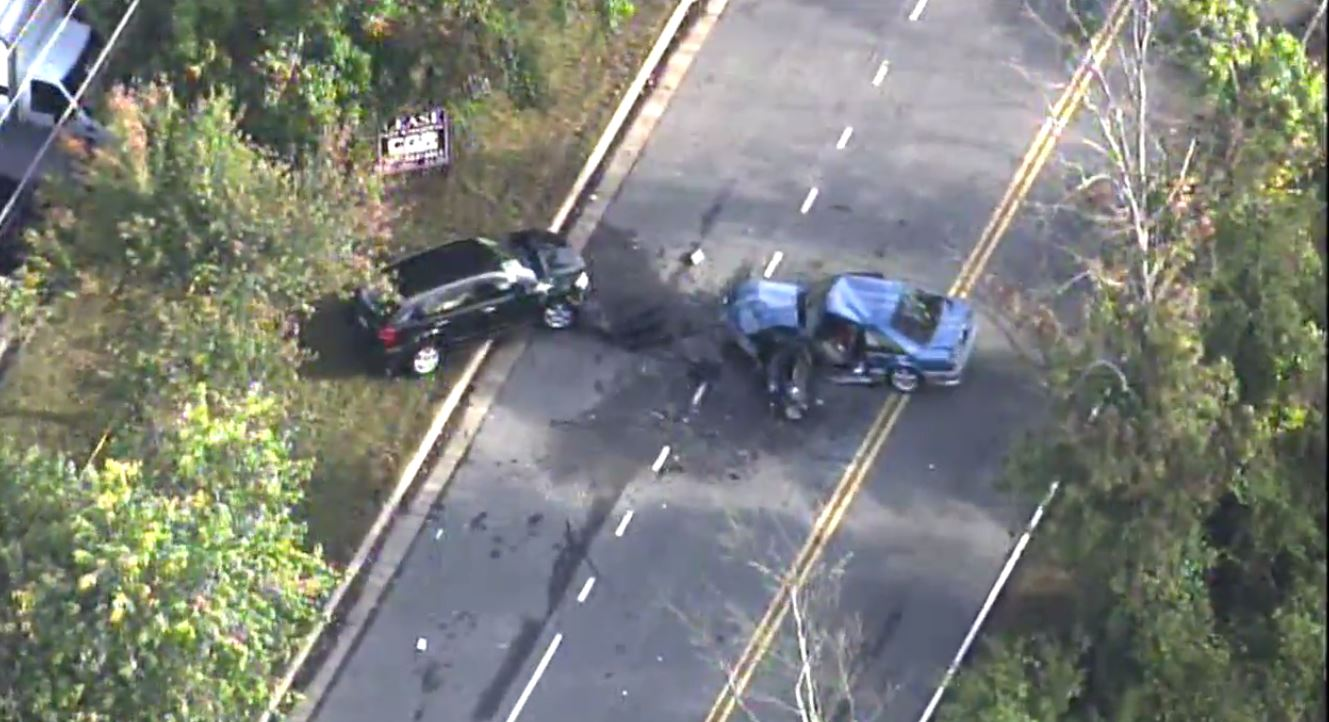 Two cars were involved in a deadly crash in Fairfax County, Va.  Tuesday, Oct. 10, 2017 (SkyTrak7)