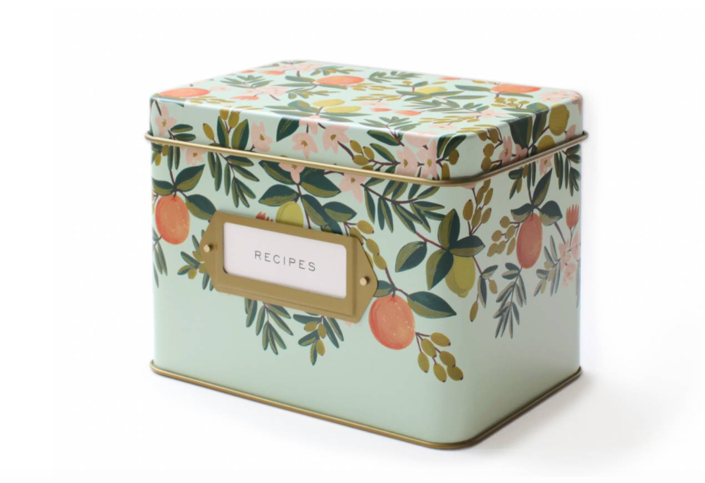 Citrus Floral Recipe Tin by Designer: Rifle Paper Co. from Moorea Seal Store ($34). Find on mooreaseal.com. (Image: Moorea Seal)