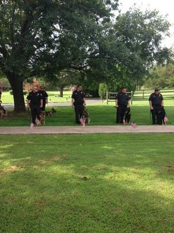His K9 coworkers (both human and canine) are in attendance.