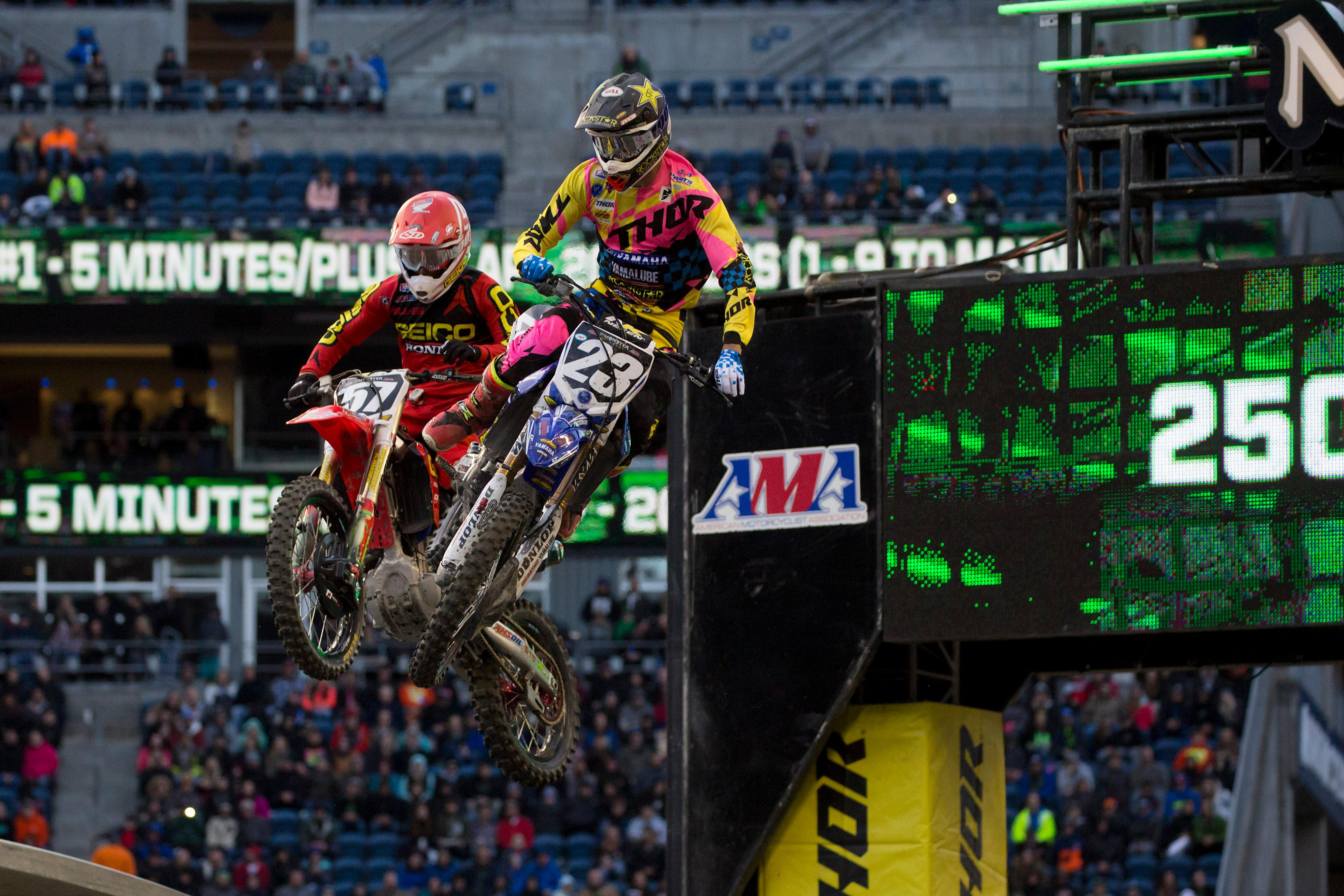 CenturyLink Field was transformed on Saturday, April 9, for Monster Energy Supercross. Hundreds packed the stadium to watch athletes do battle in a 17-race pursuit of the most coveted title in the sport. (Sy Bean / Seattle Refined)