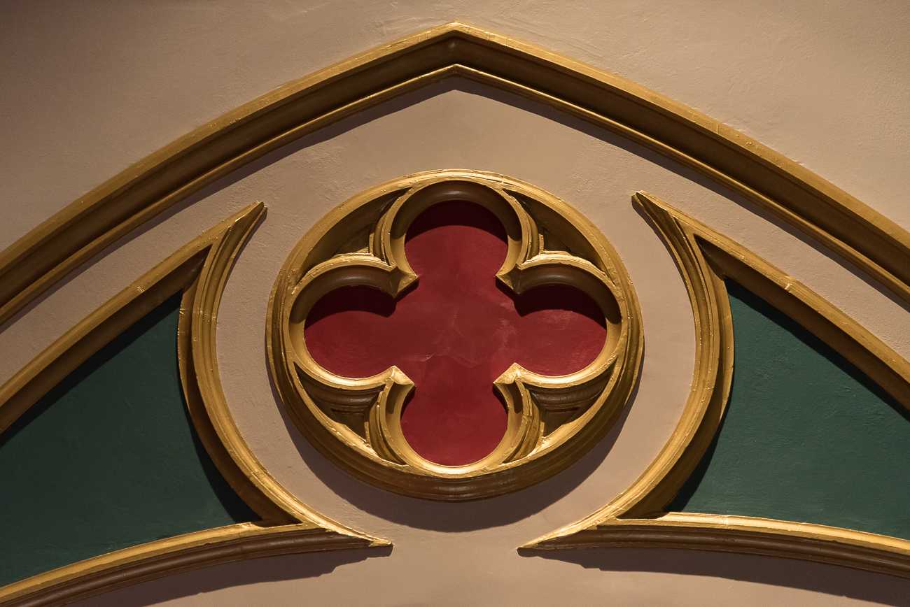 Both First Lutheran's facade and interior share a recurring common rounded cross shape. / Image: Phil Armstrong, Cincinnati Refined // Published: 6.15.18