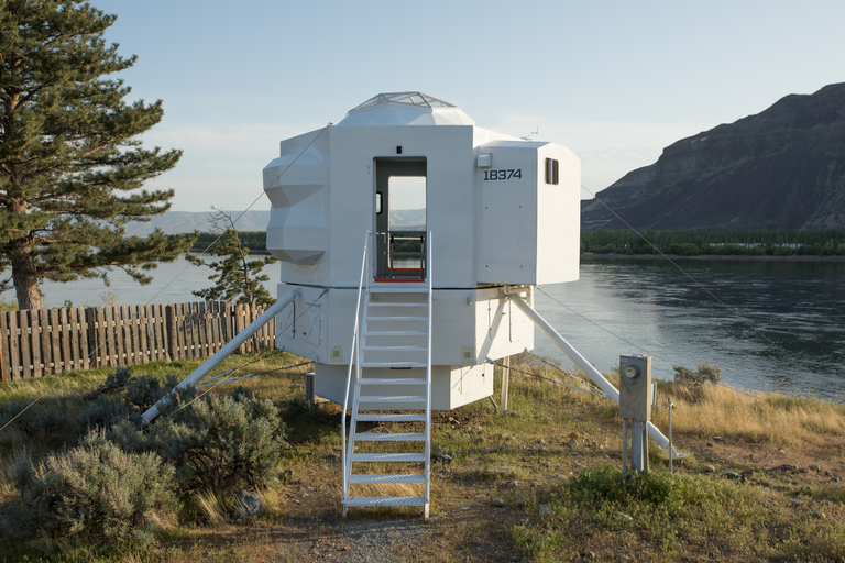 <p>Nestled on the Columbia River in Central, WA - this 250 square foot home is inspired by a lunar lander! The hexagon-shaped home pays homage to the Space Age, sits nine feet above the ground and features a breakfast nook, stainless steel kitchen appliances, a geodesic dome skylight, and a bedroom below that is accessible via ladder. Unfortunately the home is not for sale, but isn't it cool just to know it exists?!{&amp;nbsp;}<a  href=&quot;https://www.zillow.com/blog/lunar-lander-tiny-home-226261/&quot; target=&quot;_blank&quot; title=&quot;https://www.zillow.com/blog/lunar-lander-tiny-home-226261/&quot;>More info on Zillow's blog.{&amp;nbsp;}</a>(Image: Zillow)</p>