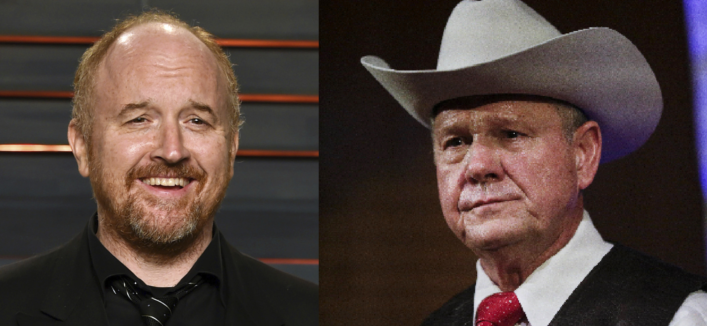 Comedian Louis C.K. (left) and Alabama Senate candidate Roy Moore (right) faced accusations of sexual misconduct Thursday. (Invision/AP/Brynn Anderson)