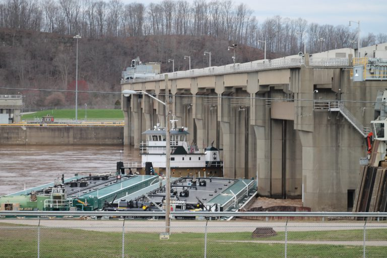 A spokesman for the U.S. Army Corps of Engineers says the corps is working to clear a tow boat and barges after they became wedged Thursday in the Racine Locks and Dam in Meigs County. (Daily Sentinel, Madalyn Wood)