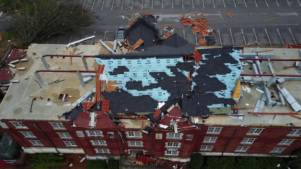 Inside the Storm: Drone captures video of extensive tornado damage at Alabama college
