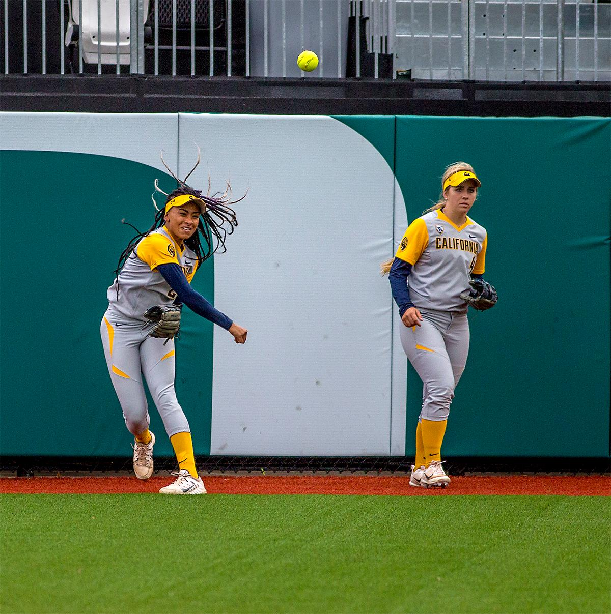 The Golden Bears' Jazmyn Jackson (#24) throws the ball back to her teammates on the infield. The Oregon Ducks defeated the Cal Golden Bears 2-1 in the second game of the three game series. Photo by August Frank, Oregon News Lab