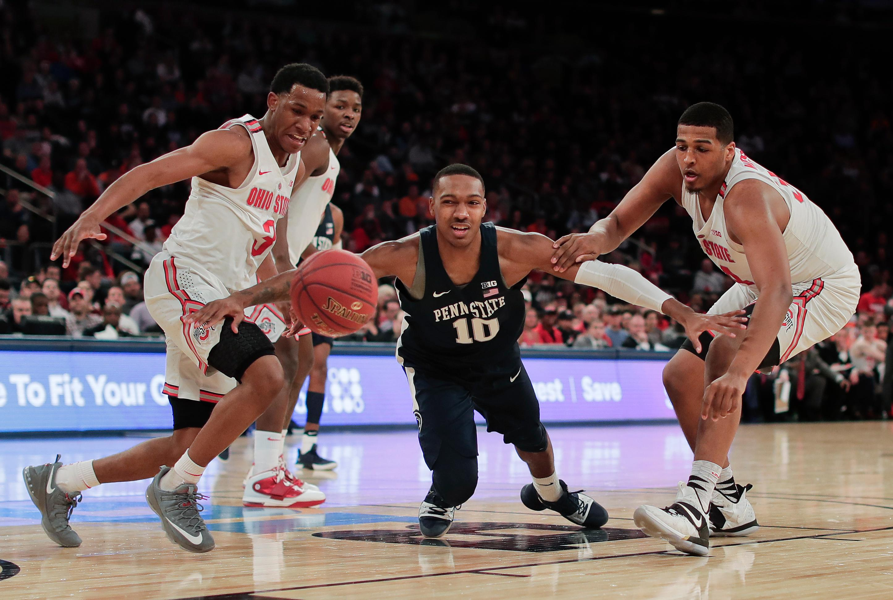 Penn State guard Tony Carr (10) loses control of the ball as he drives to the basket against Ohio State during the second half of an NCAA Big Ten Conference tournament college basketball game, Friday, March 2, 2018, in New York. Penn State won 69-68. (AP Photo/Julie Jacobson)