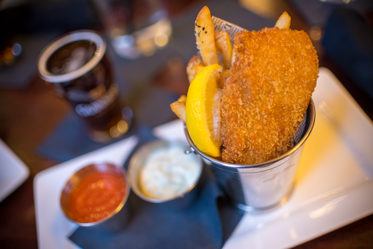 "Nicholson's ""Fish & Chips"" (hand-breaded haddock, slaw, tartar sauce, fries, and house-made catsup / Image: Phil Armstrong, Cincinnati Refined // Published: 1.3.17"