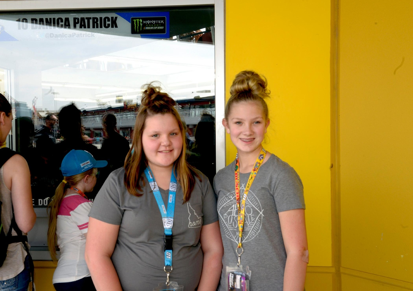 Race fans Megan Moedl (left) and Kailey Wheeler (right) wait patiently to catch a glimpse of Danica Patrick in her pit at the NEON Garage during NASCAR Stratosphere Pole Day at Las Vegas Motor Speedway. Friday, March 10, 2017. (Glenn Pinkerton/Las Vegas News Bureau)