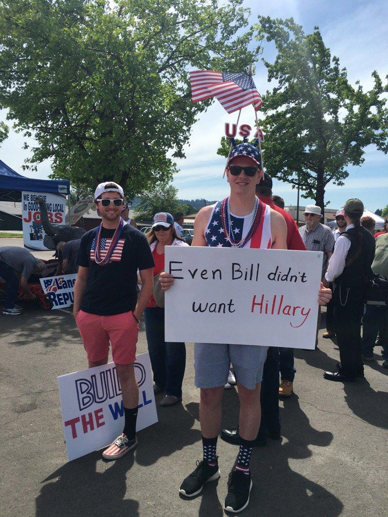 Trump fans wait outside the Lane Events Center in Eugene for the Donald Trump Rally. The rally begins at 7 p.m. (SBG photo)
