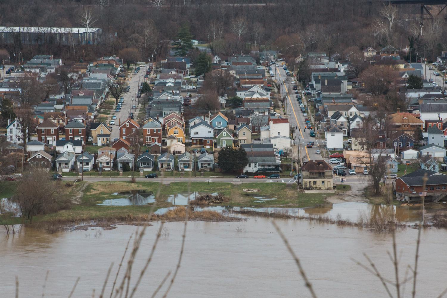 On Sunday, February 25, the Ohio River Flood of 2018 crested just above 60 feet, which is eight feet above the 52-foot flood stage. This is the biggest flood the city has seen since 1997. Smale Park is mostly underwater as are Sawyer Point and Yeatman's Cove. / Image: Catie Viox // Published: 2.26.18