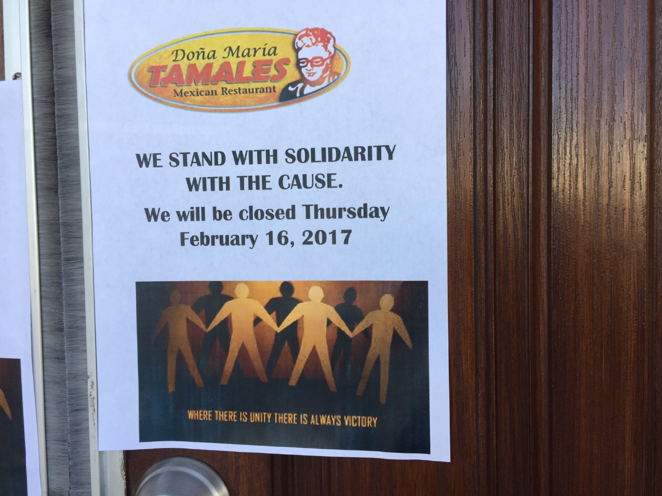 Sign on the door of Dona Maria Tamales, another local business participating in a Day Without Immigrants. 2/16/17 (Jeff Gillan | KSNV)