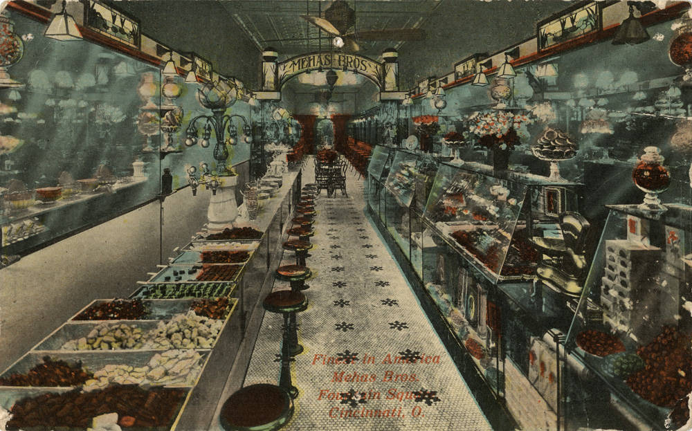 Inside of Mehns Brothers' ice cream parlor on Fountain Square / DATE: Unknown / COLLECTION: Public Library of Cincinnati and Hamilton County, Paul F. Bien postcard collection / Image courtesy of the digital archive of The Public Library of Cincinnati and Hamilton County // Published: 4.4.18