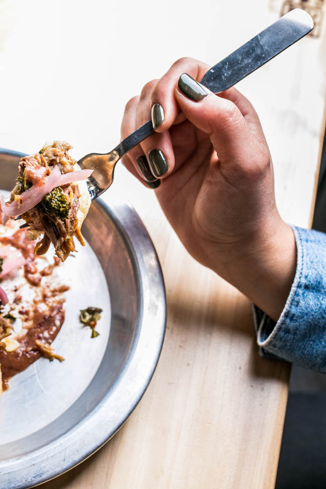 <p>The Blue Mountain: Refried trappers, kale greens, braised pork shoulder, and chili pickled red onions / Image: Amy Elisabeth Spasoff // Published:  4.2.18<br></p>