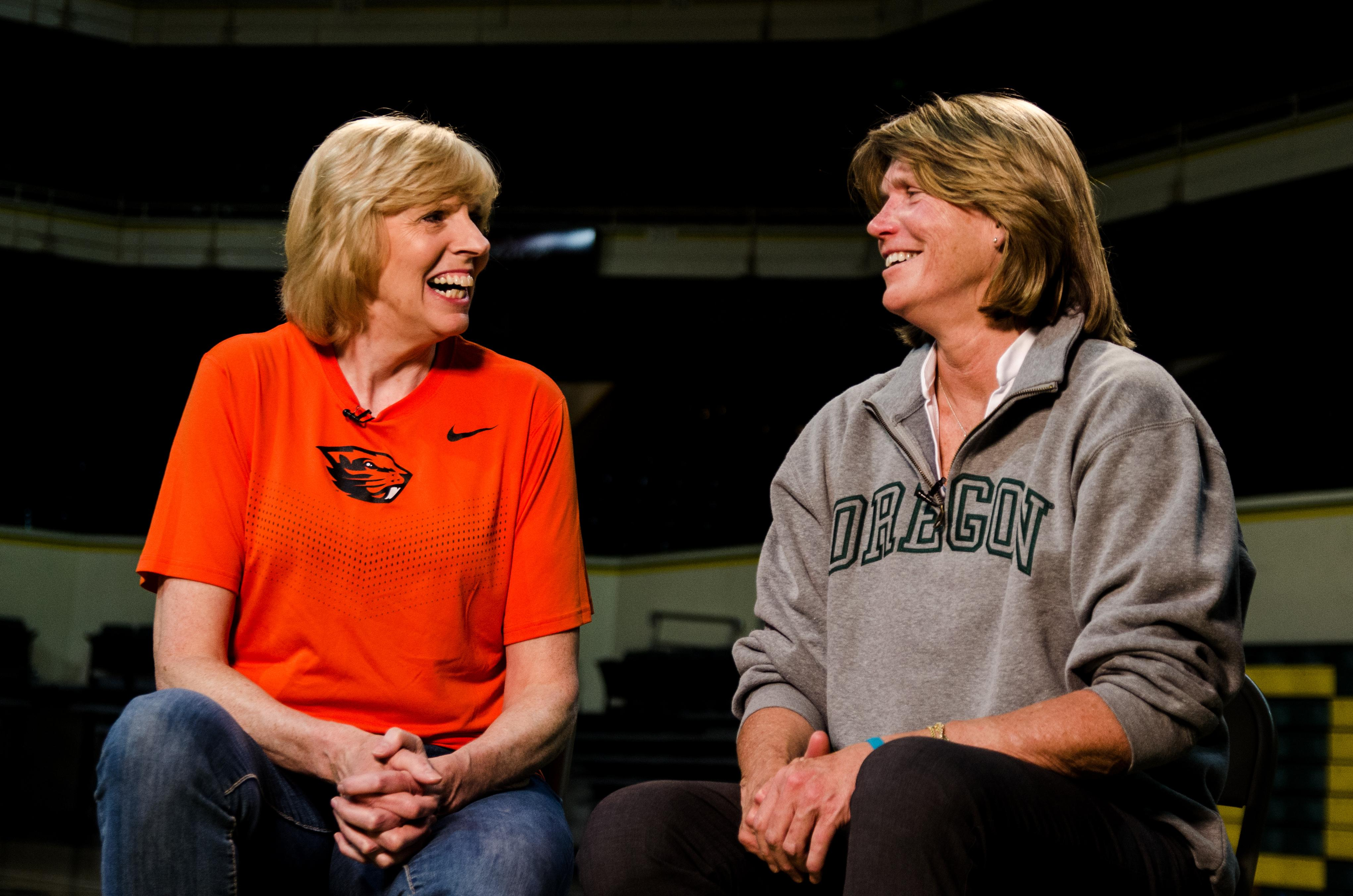 Although they didn't realize it at the time, the rivalry between Oregon State's Carol Menken-Schaudt and University of Oregon's Bev Smith became the pillar that women's basketball was built on in the northwest. Photo by Matt Scotton